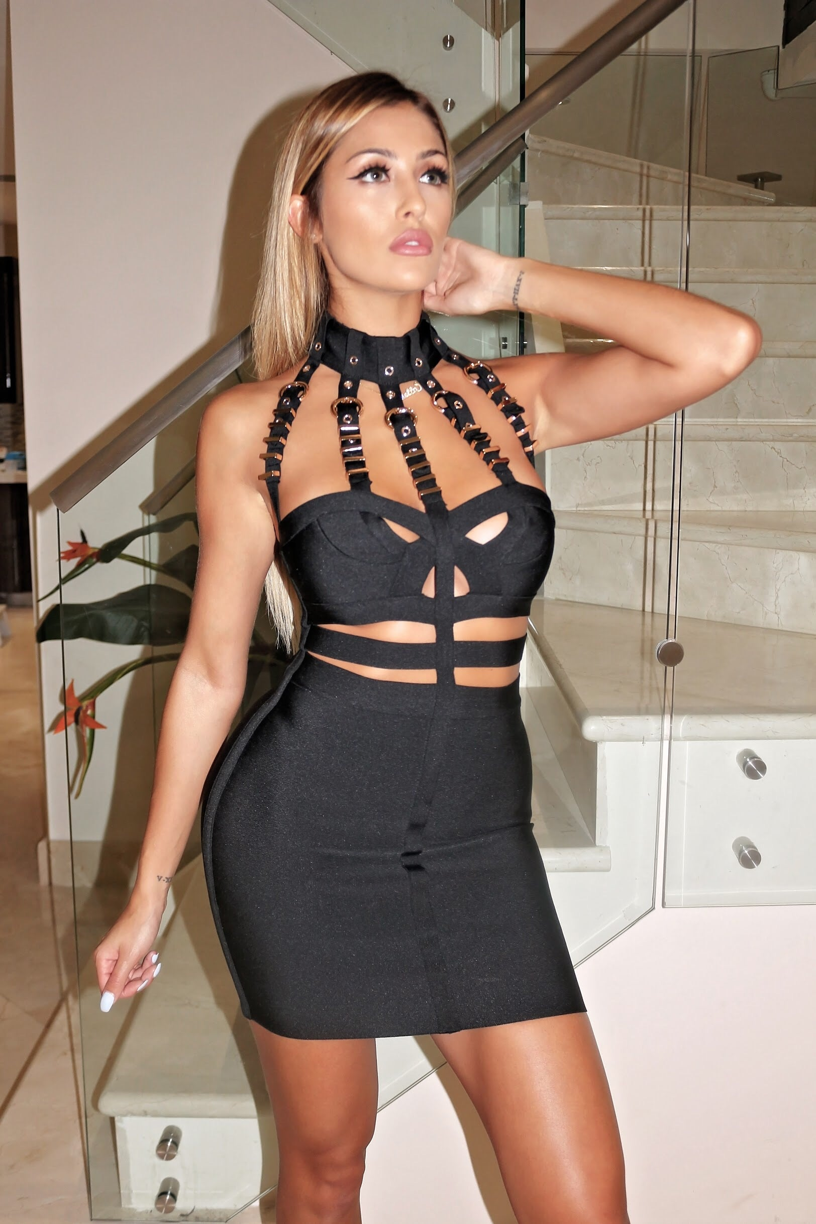 Kim K Bondage Mini Dress