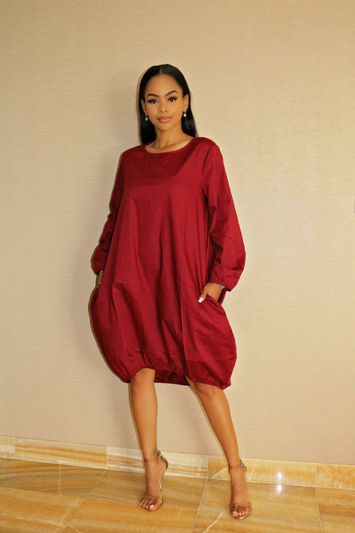 Oversized Dress with Gorgeous color Burgundy