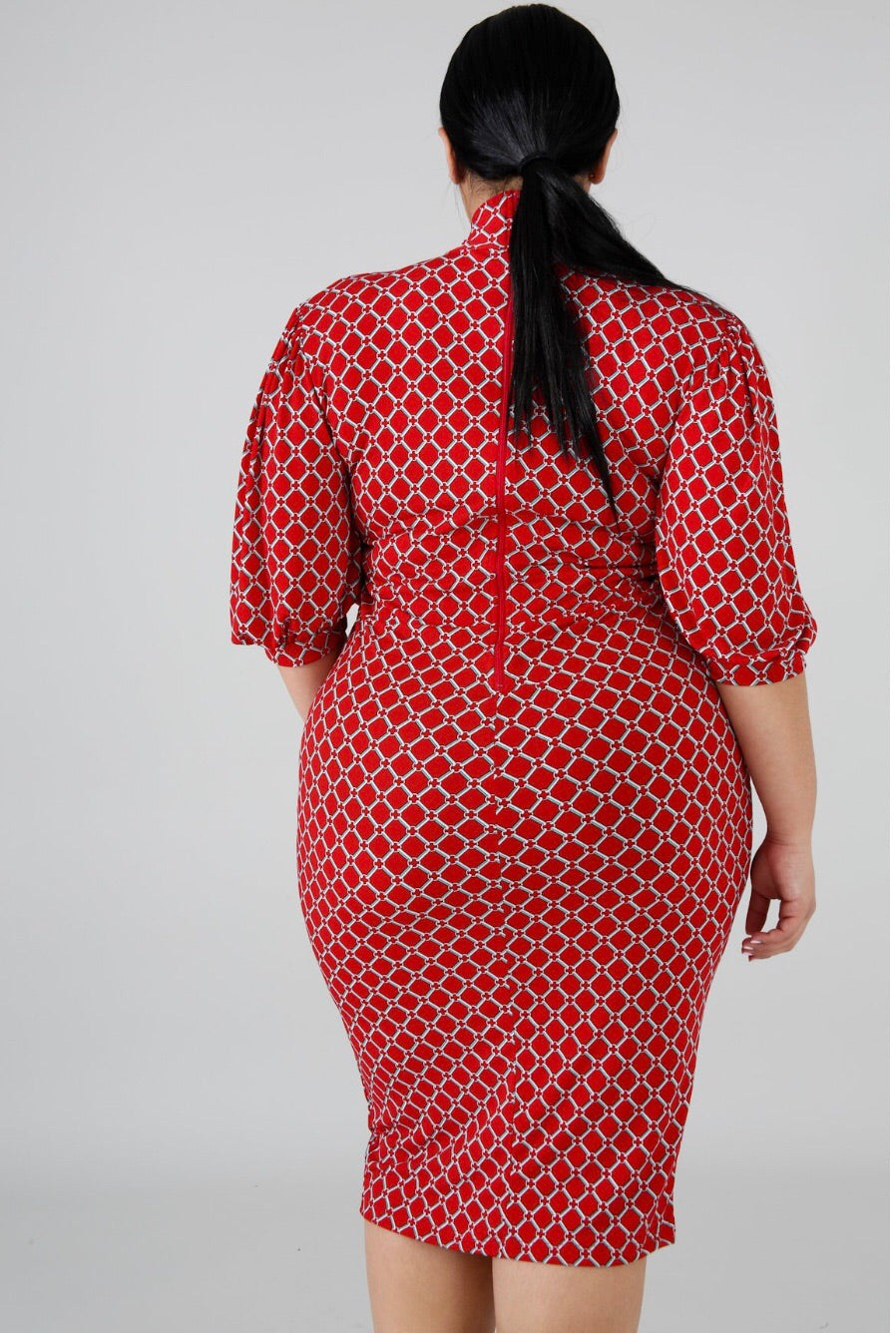 Kris Hot Red Plus size Mini Dress - Semai House Of fashion
