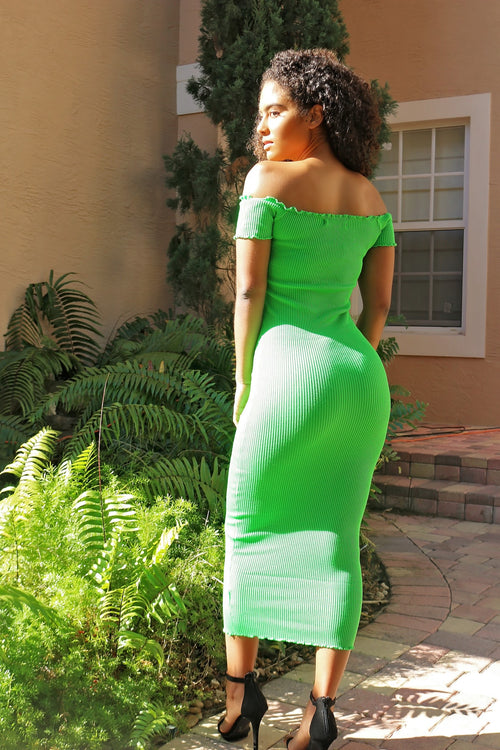 Spring Fine Midi Dress-Green - Semai House Of fashion