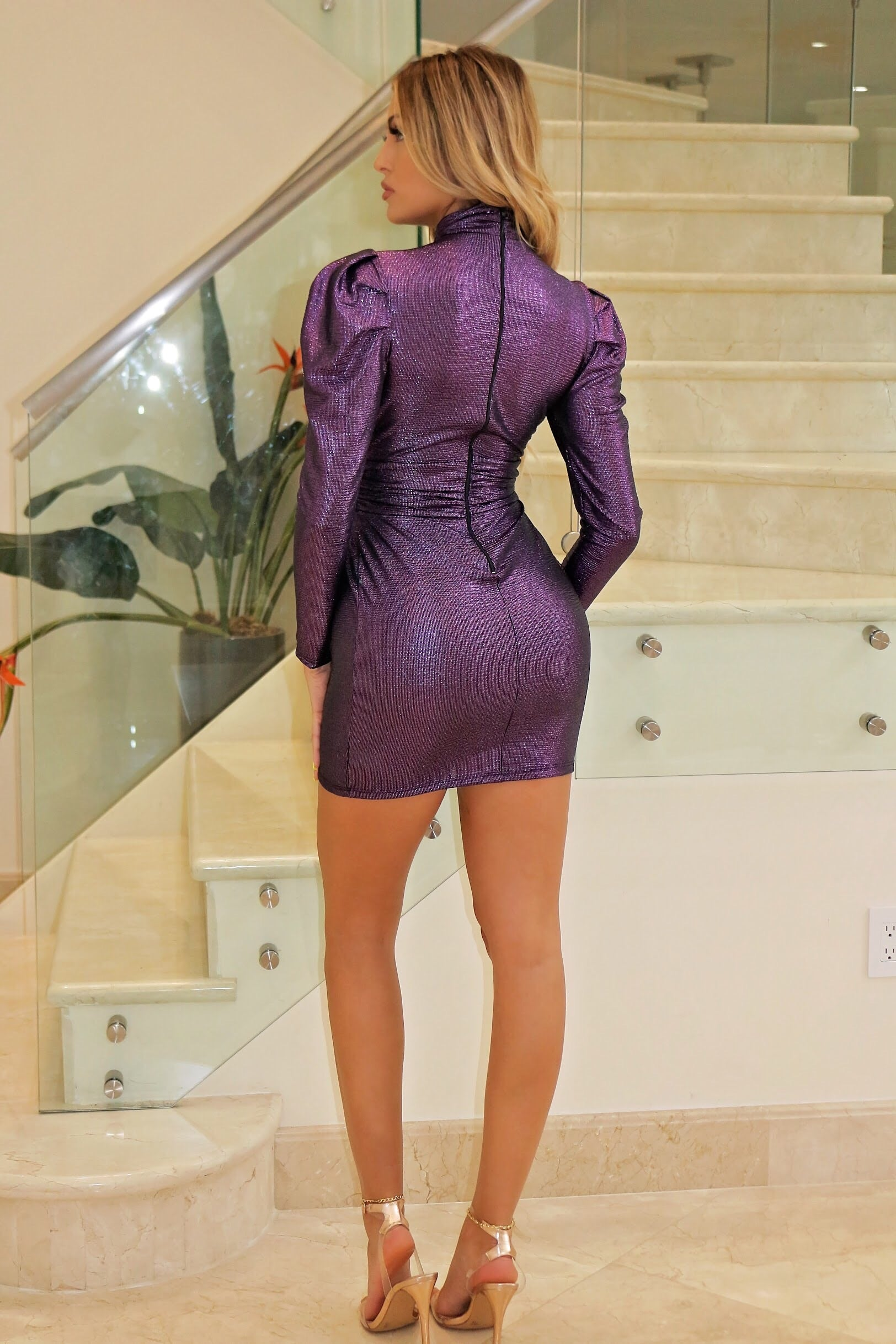 Clair Sexy Classy Showing Out - Purple Mini Dress - Semai House Of fashion
