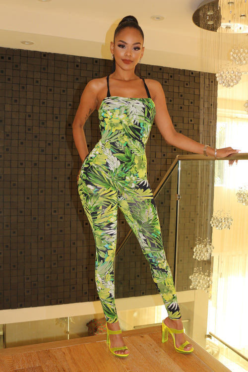 Colorful tropical Jumpsuit - Green - Semai House Of fashion