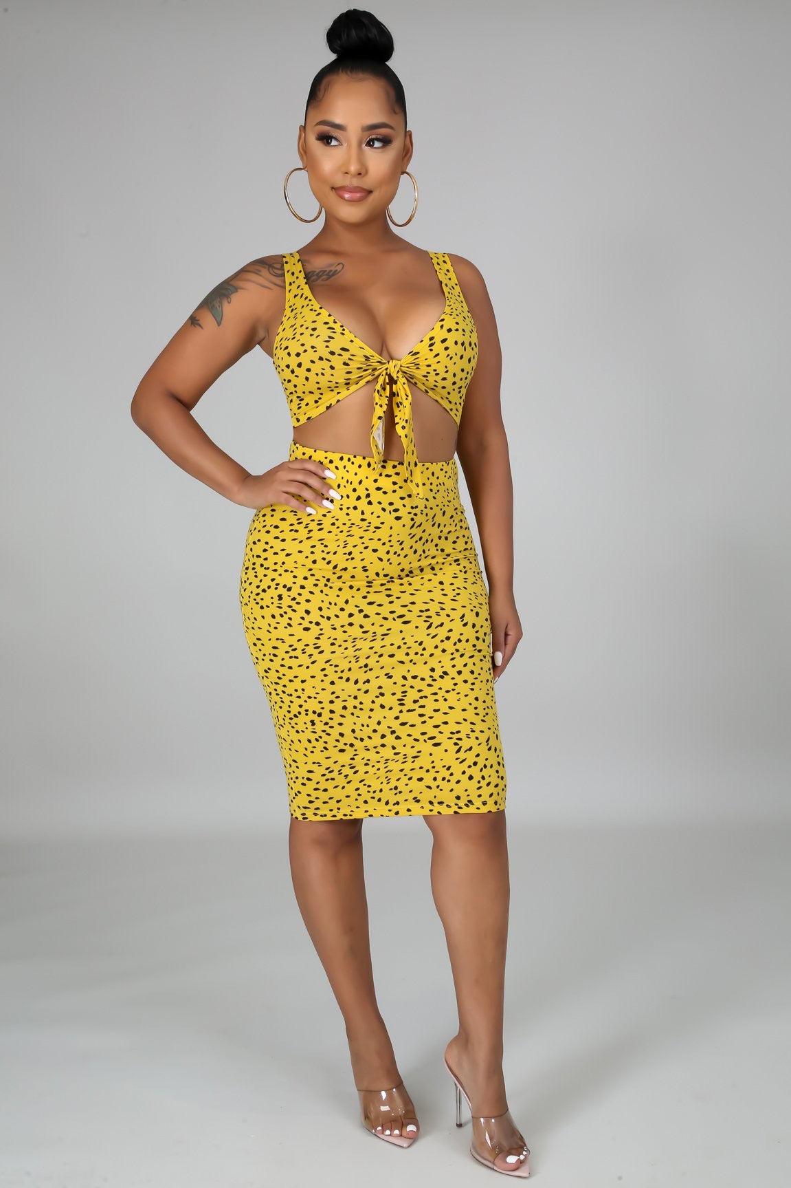 Crop Top self tie skirt set- Mustard - Semai House Of fashion