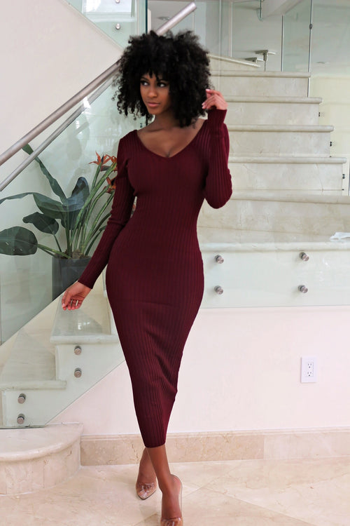 Carmen - Breezing Through Midi Dress- burgundy