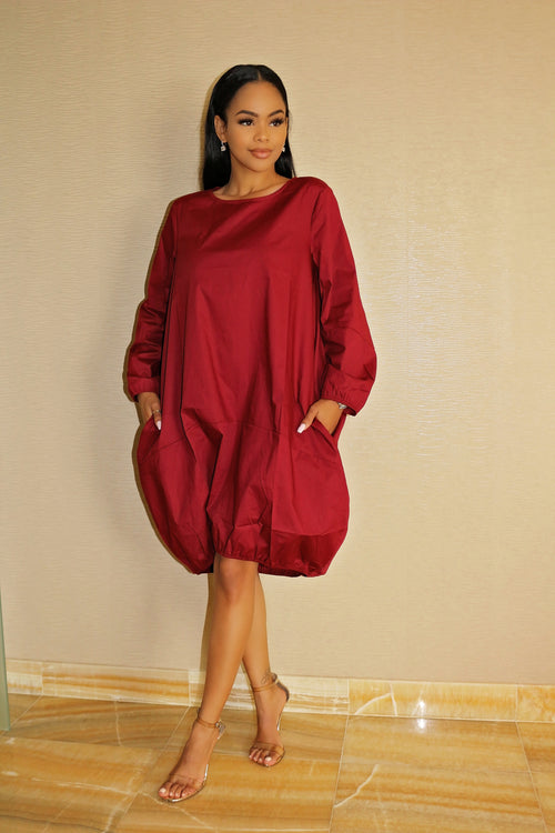 Oversized Dress with Gorgeous color Burgundy - Semai House Of fashion