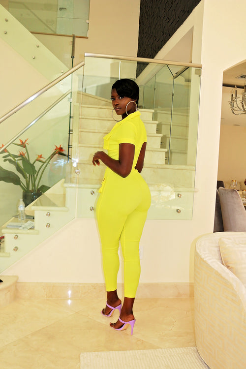 Hug my body Jumpsuit- yellow - Semai House Of fashion