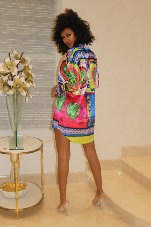 Multi Color Mini T shirt Dress