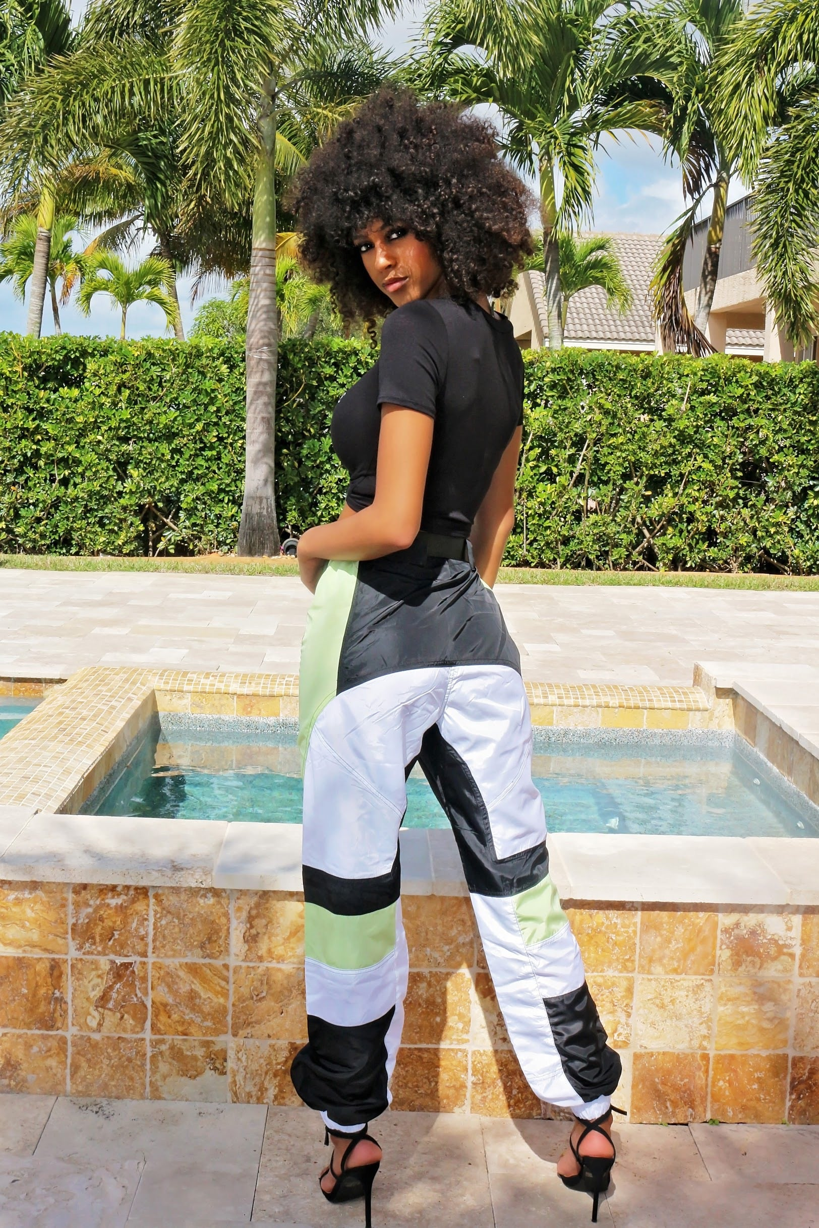 Sporty Buckle Up Pants- Blue