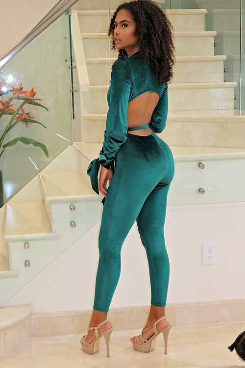 Suede Sexy Jumpsuit- Green