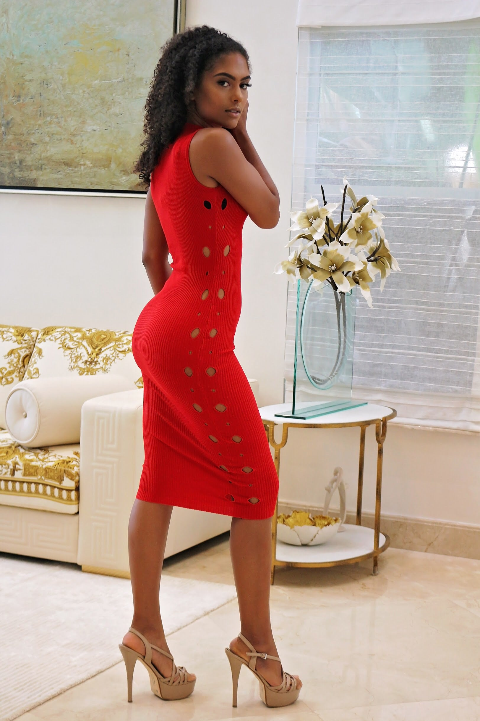 Our Red Midi Dress with Side teasing - Semai House Of fashion