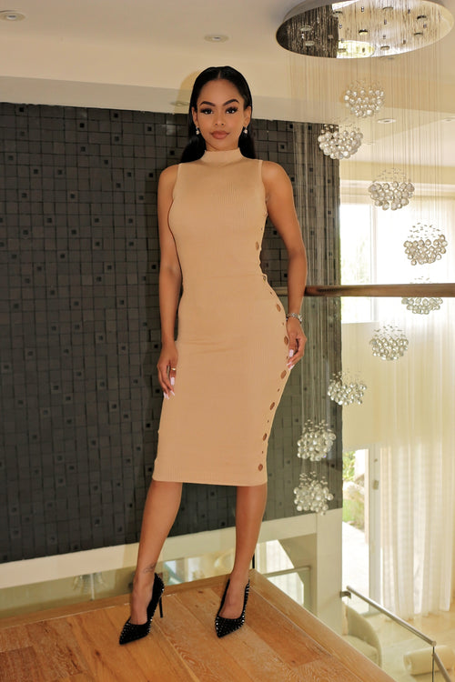 Our Nude Midi Dress with Side teasing