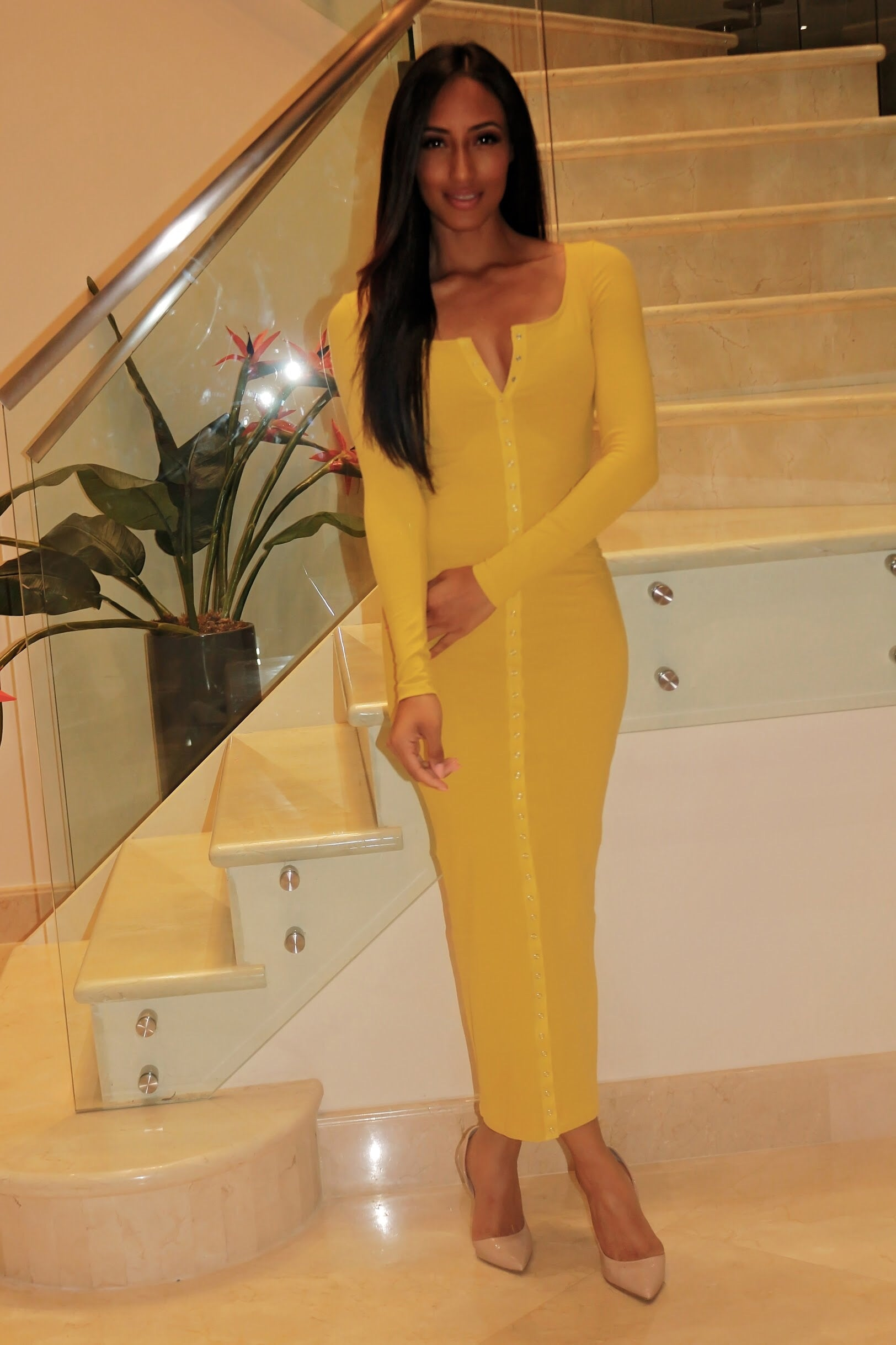 Knit Maxi Dress - Mustard - Semai House Of fashion