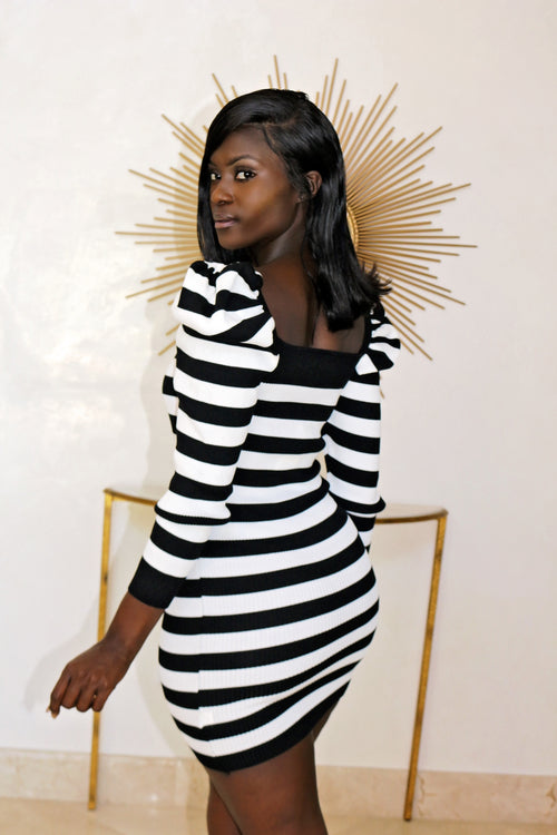 Mini Long Sleeve Dress- Black - Semai House Of fashion