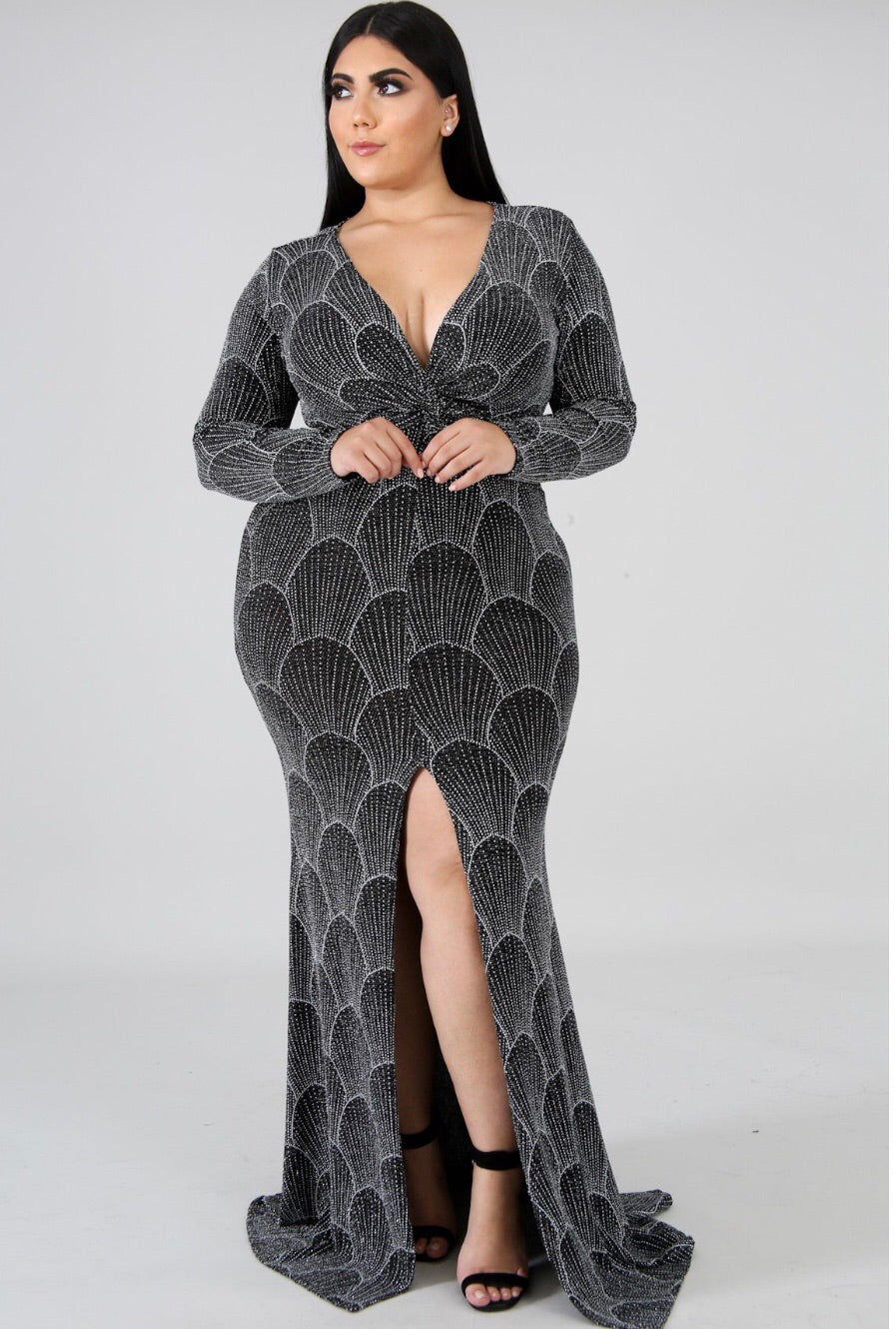 Glitter Long Sleeve Plus Size Dress