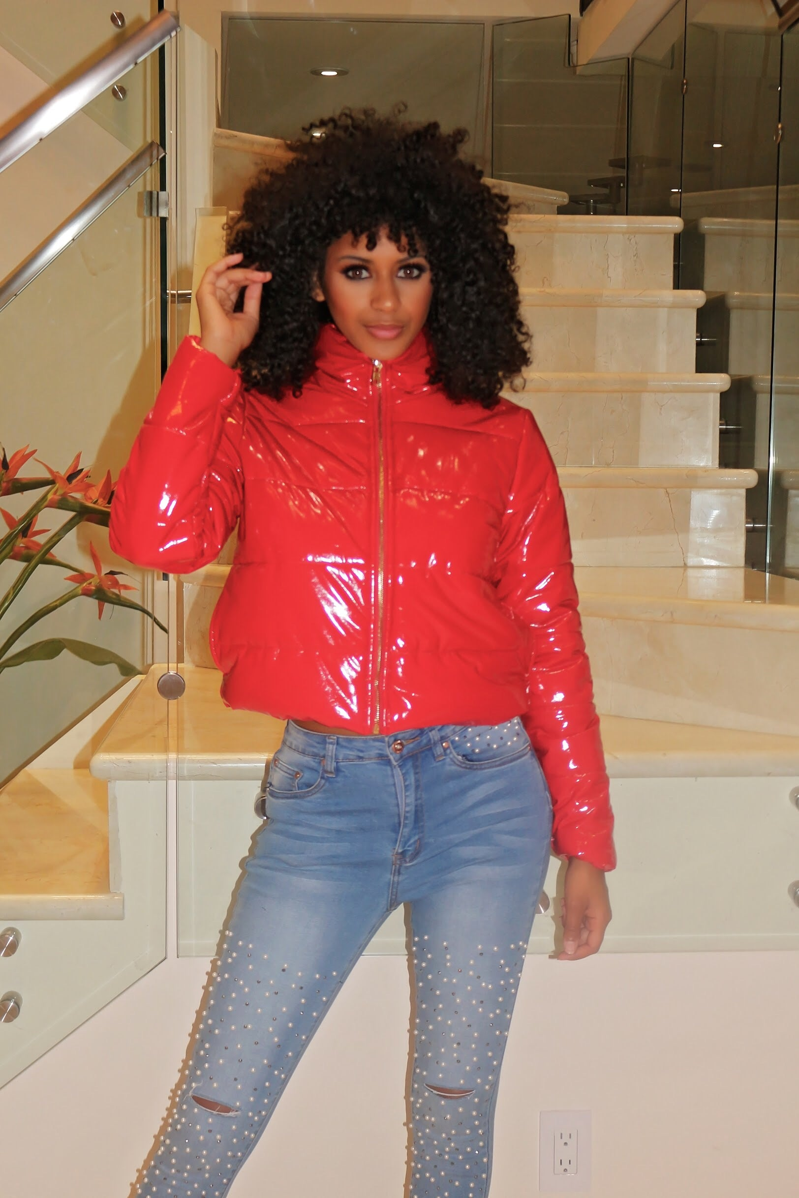 Puff Jacket- Red - Semai House Of fashion