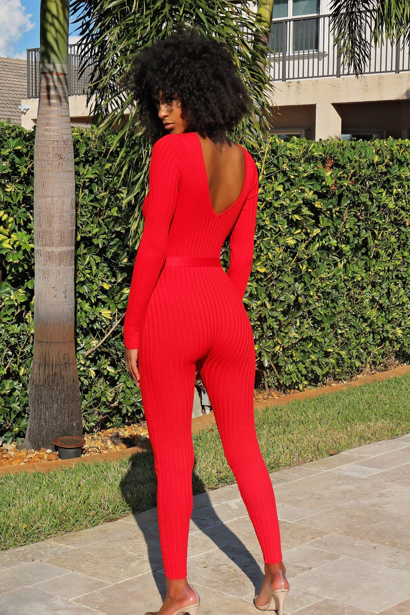Got Red Long Sleeve Jumpsuit - Semai House Of fashion