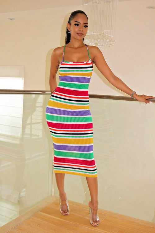 Striped Down Pretty colorful Dress