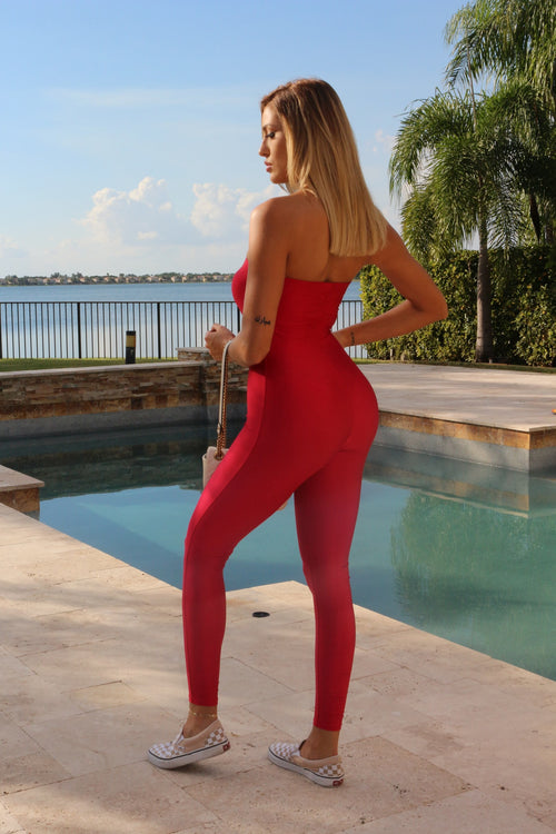Upper EastSide Strapless Jumpsuit- Red