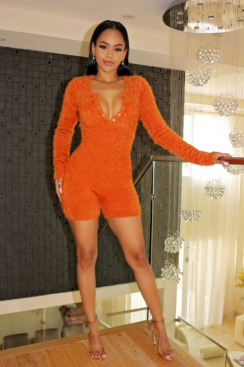 Cozy Knit Romper - Rust - Semai House Of fashion