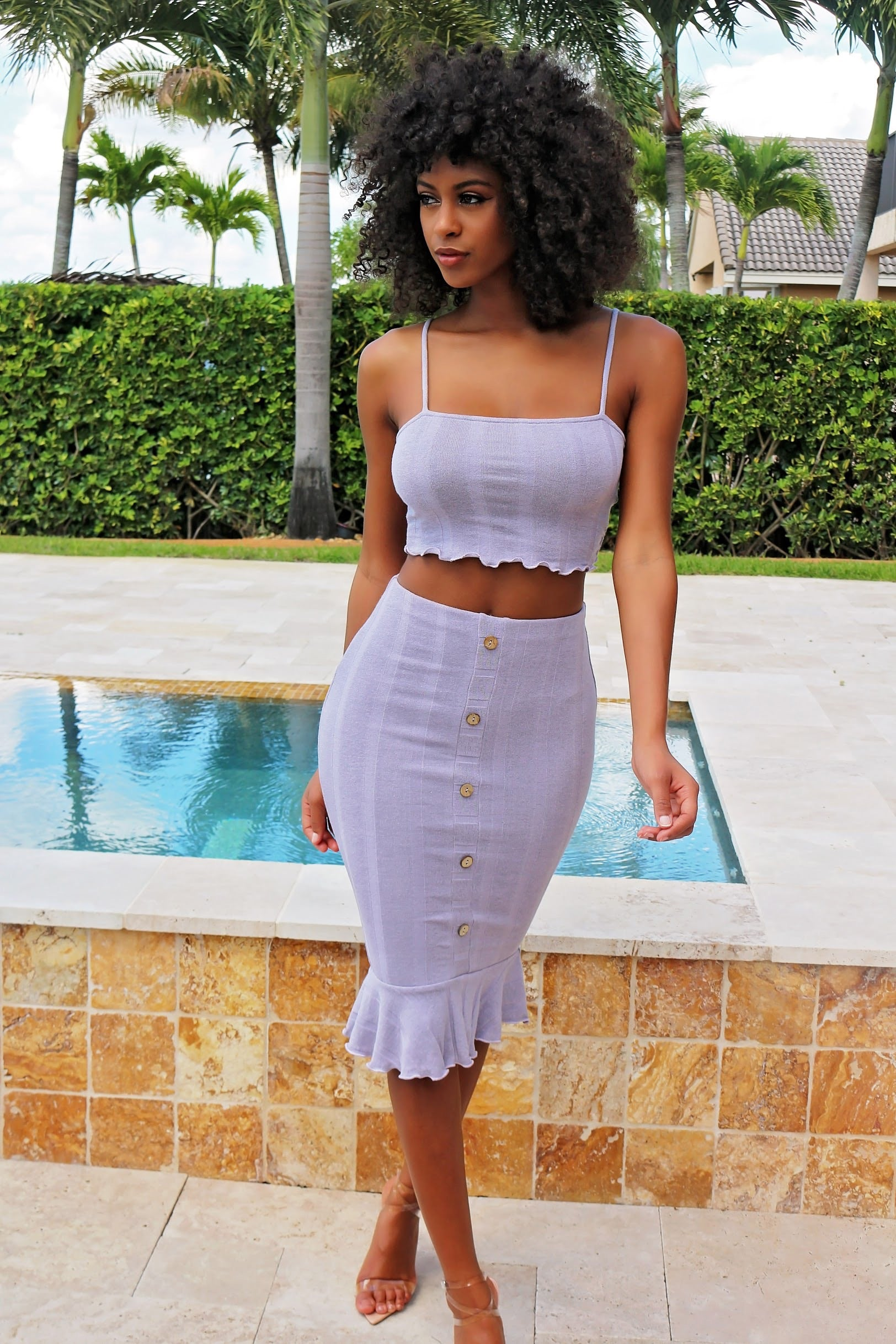 Rose Bottom Down Skirt Set- Lavender