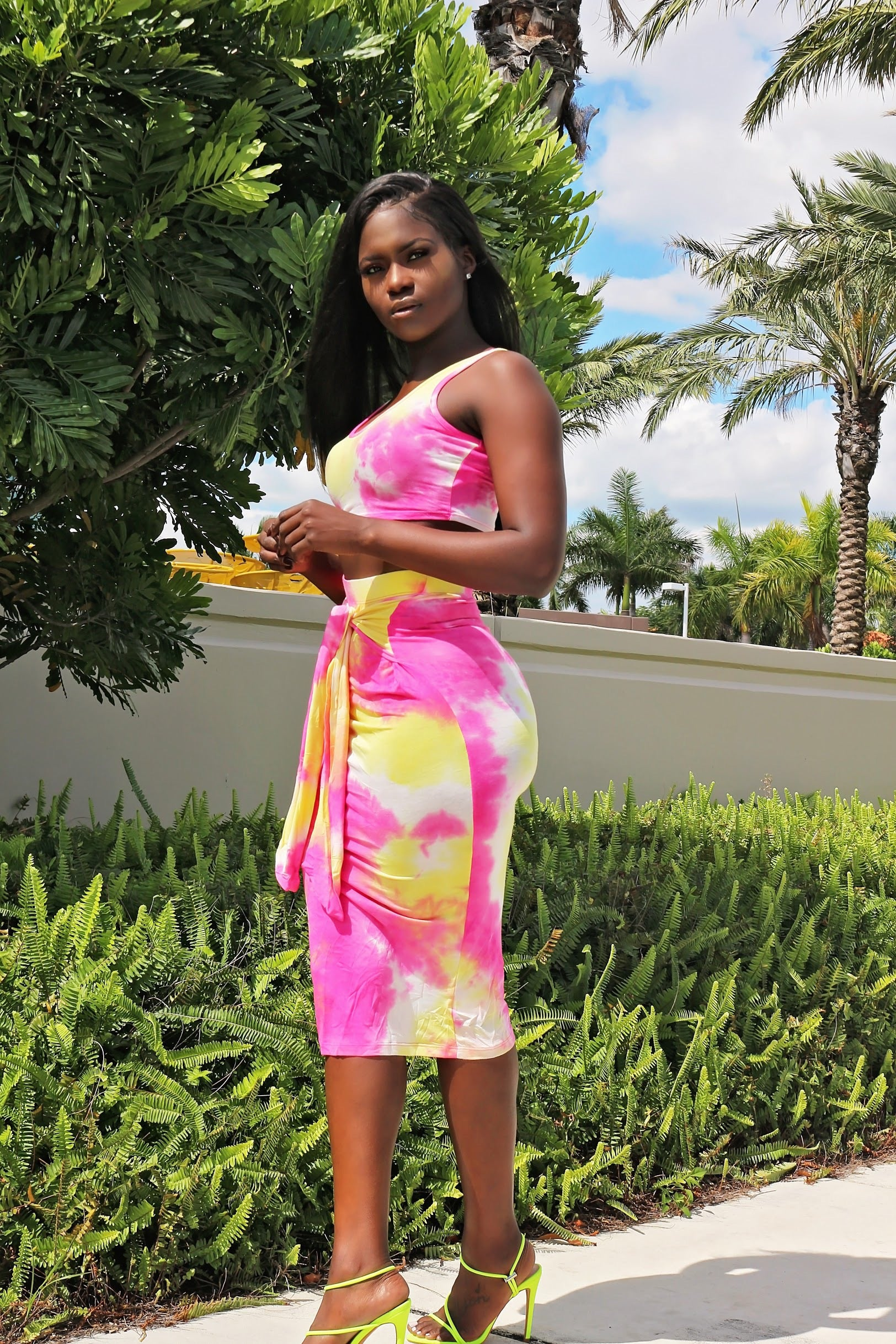 Lum Tie Die Skirt Set - Pink - Semai House Of fashion