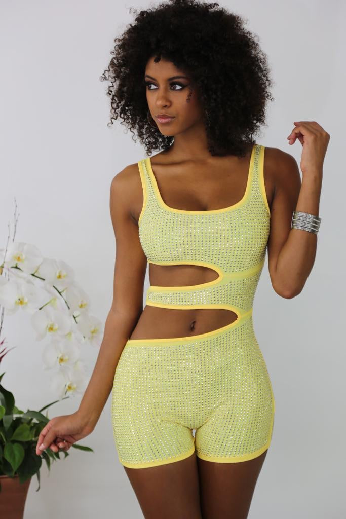 Ring On me Romper - Yellow