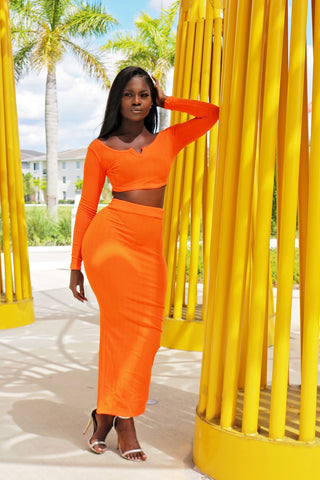 Show Your Comfort Skirt Set- Rust