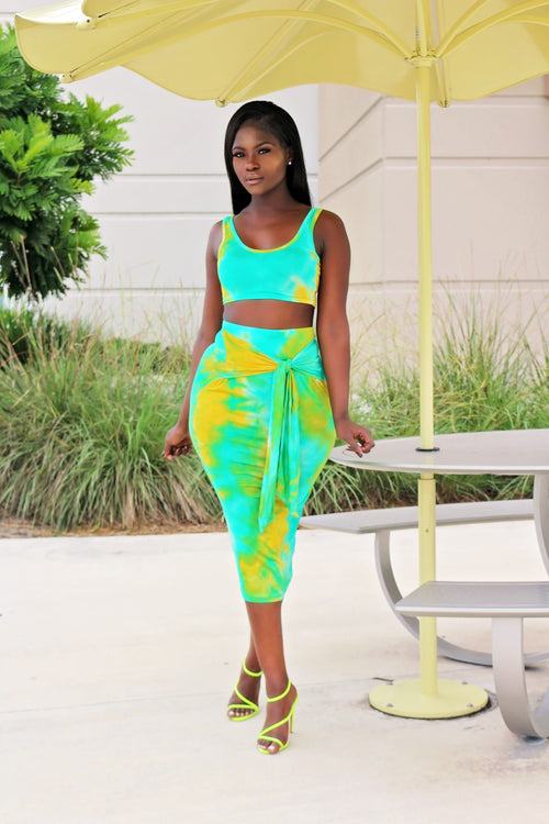Lum Tie Die Skirt Set - Lime