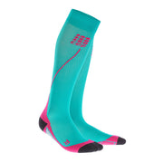 CEP Womens Running Compression Socks - Lagoon blue and pink