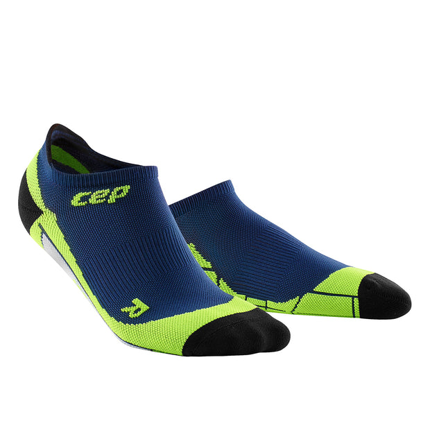 Mens No Show compression socks - CEP Compression - navy and lime green