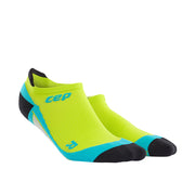 Mens No Show compression socks - CEP Compression - lime green and hawaii blue
