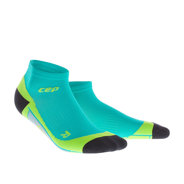 CEP Mens low cut Running Compression Socks - lagoon and lime green
