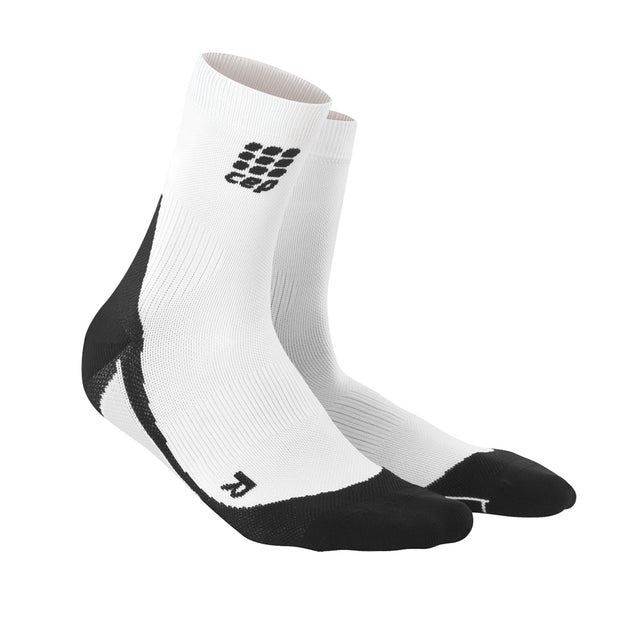 CEP Mens Short Compression Socks - White and Black