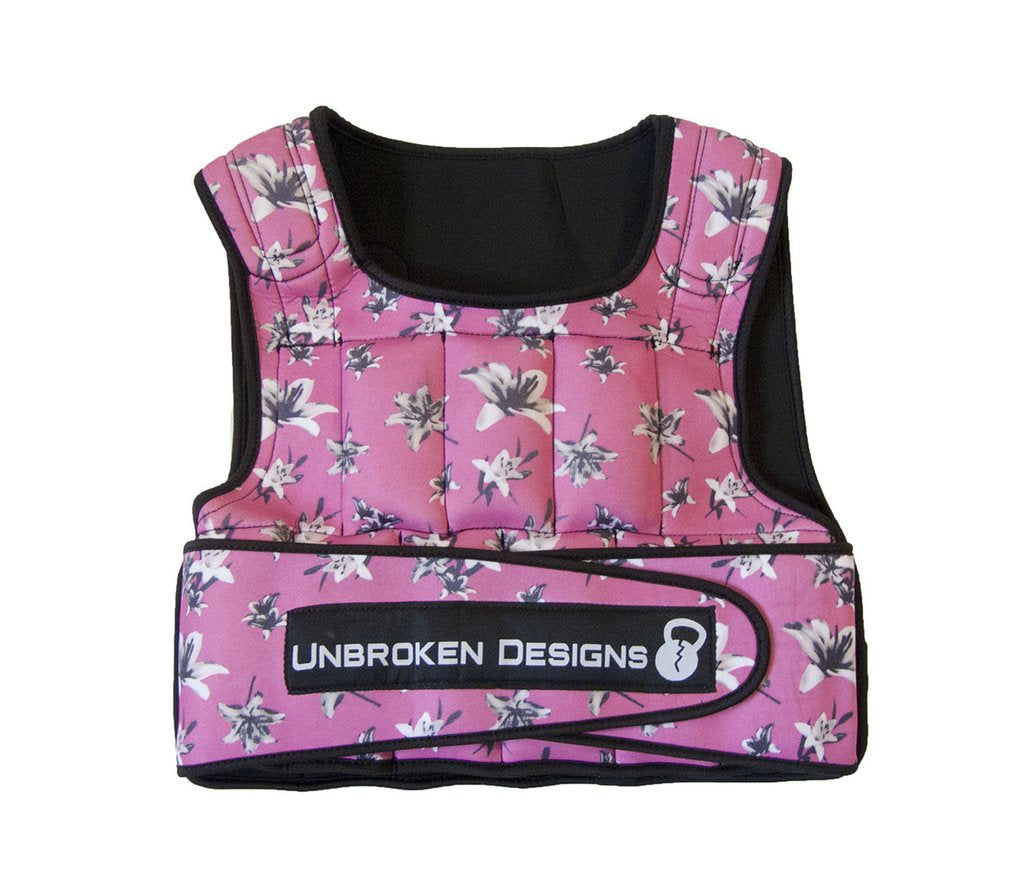 Deep Pink Floral 20lb Weight Vest