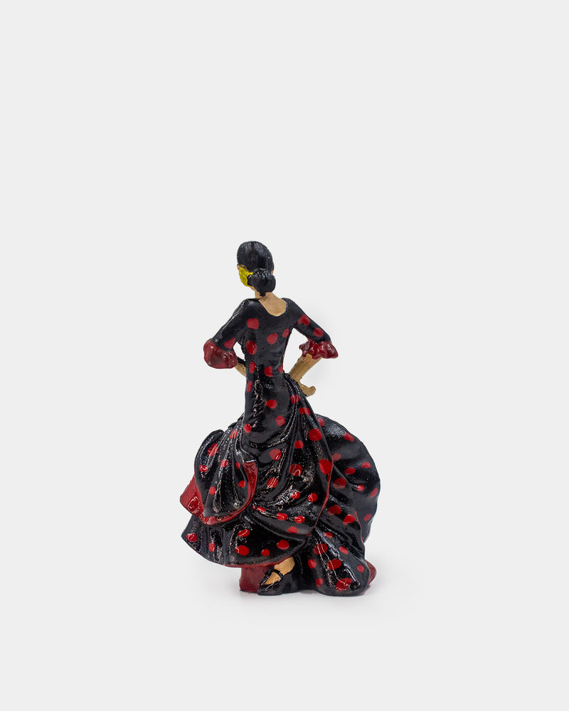 Flamenco Dancer with Black Dress and Red Polka Dots Figurine