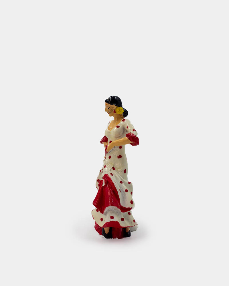 Flamenco Dancer with White Dress and Red Polka Dots Figurine
