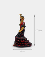 Flamenco Dancer Black Dress with Castanets Figurine