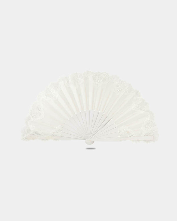 Flamenco Pericon wooden hand fan white with lace 13 inches (33 cm)