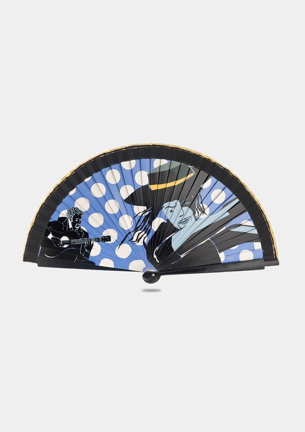 Flamenco male dancer print hand fan blue 8 inches (21 cm)