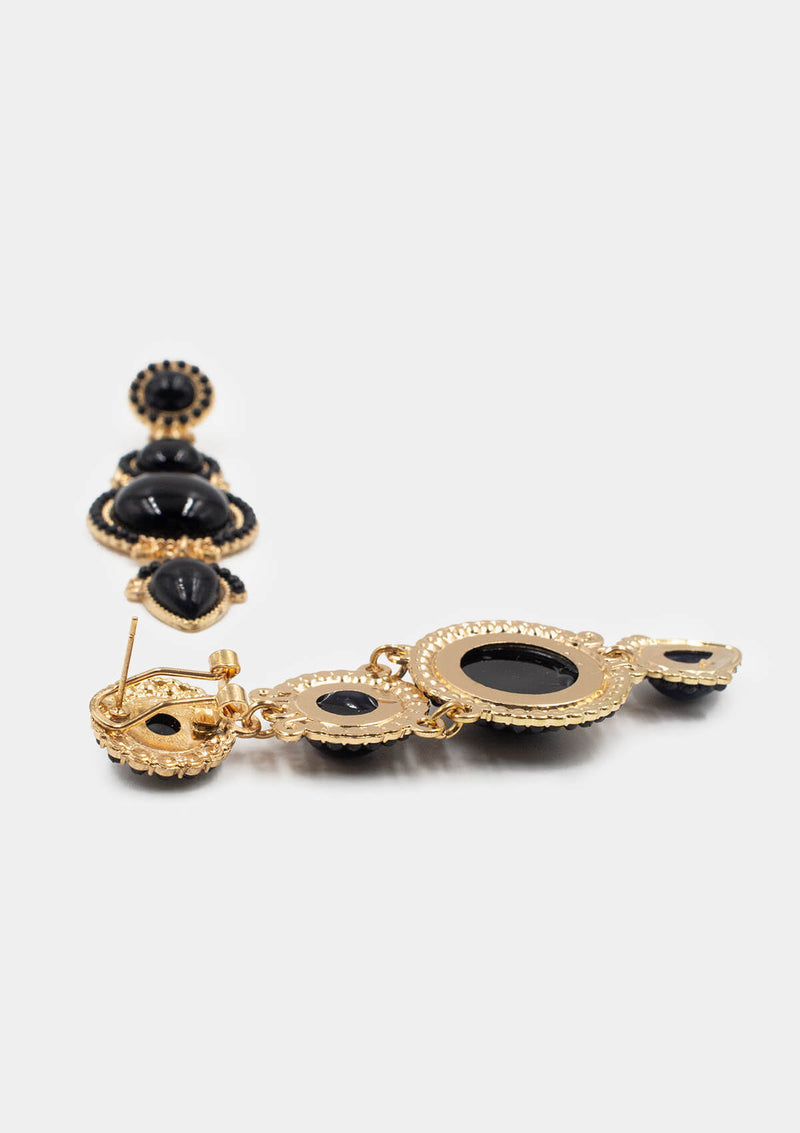Flamenco earrings long Black Gold