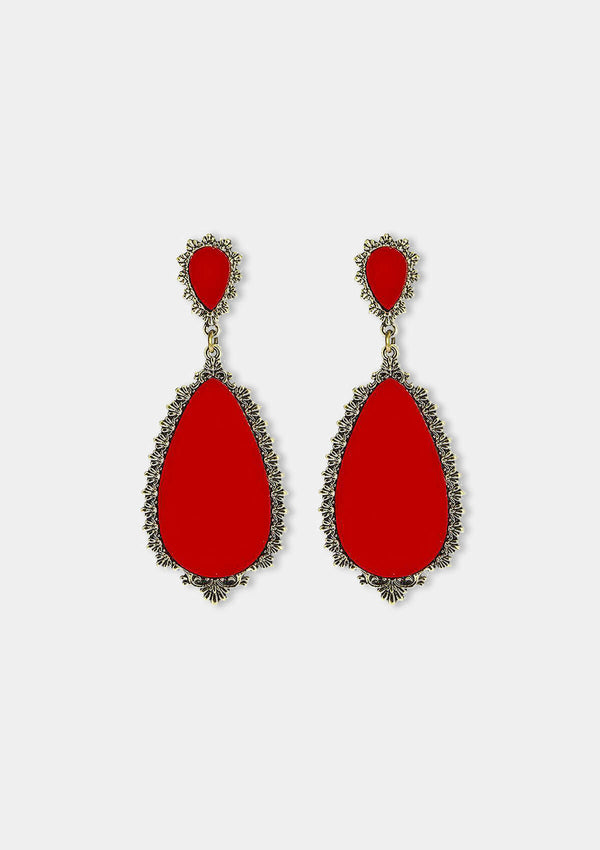 Flamenco Earrings Granada red