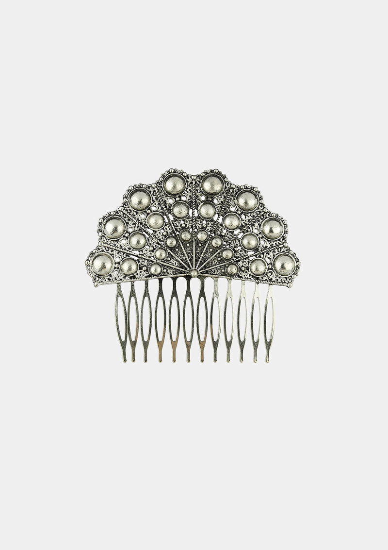 Flamenco comb silver hand Fan shape