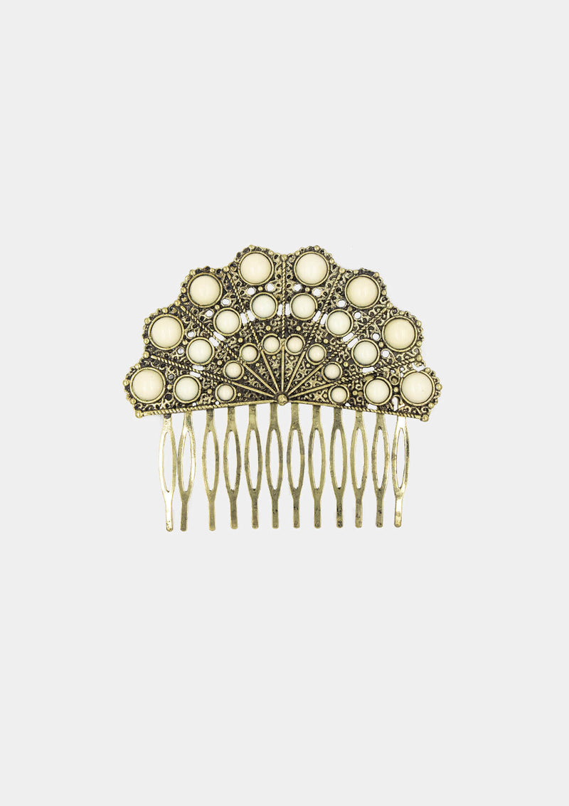 Flamenco comb old gold white hand Fan shape