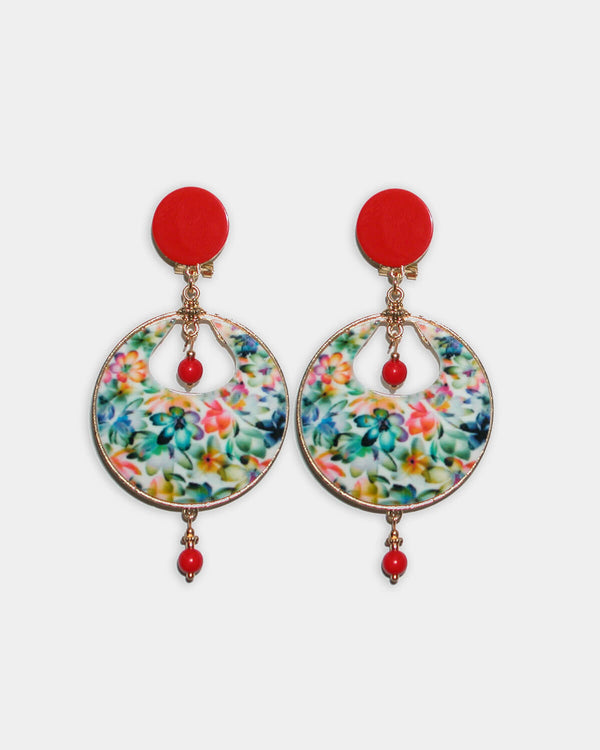 Flamenco Earrings Tropical Red