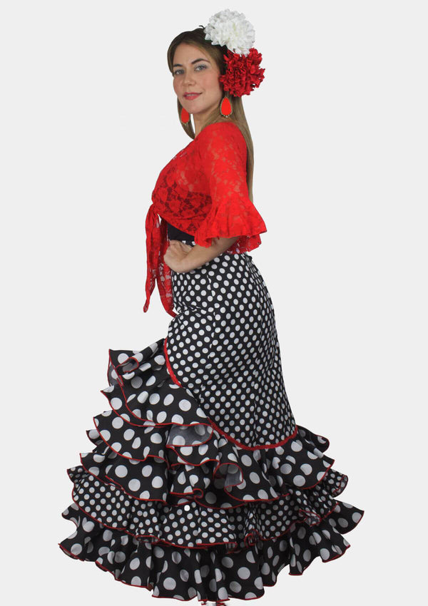 Small Polka Dot Rociera Flamenco Skirt with Ruffles