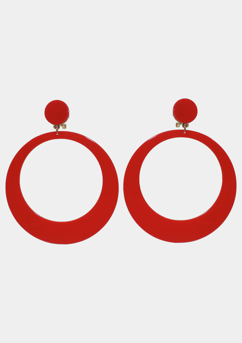 Flamenco earrings big acetate red