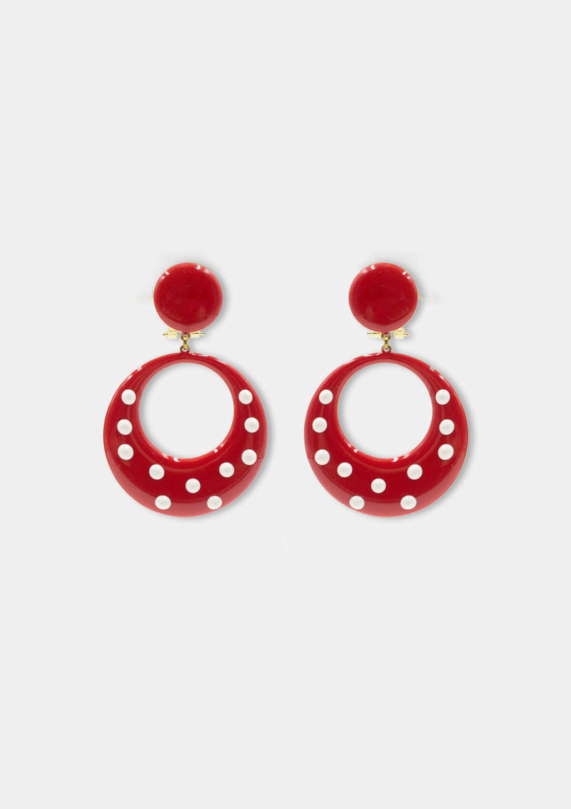 Flamenco Earrings lunares red