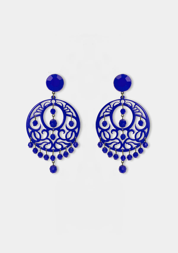 Flamenco Acetate earring blue