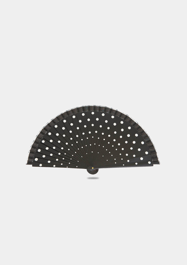 Black polka dots hand fan