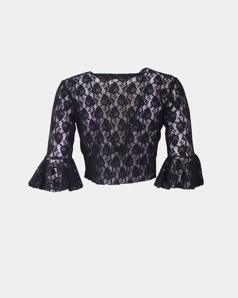 Black Lace Flamenco Blouse crossed with ruffle on the sleeves